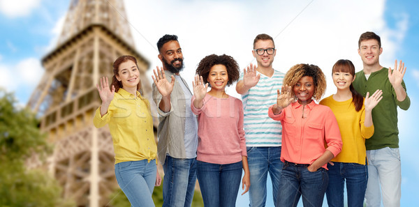 международных люди стороны Эйфелева башни Сток-фото © dolgachov
