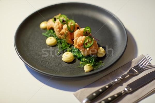 close up of prawn salad with jalapeno and wakame Stock photo © dolgachov