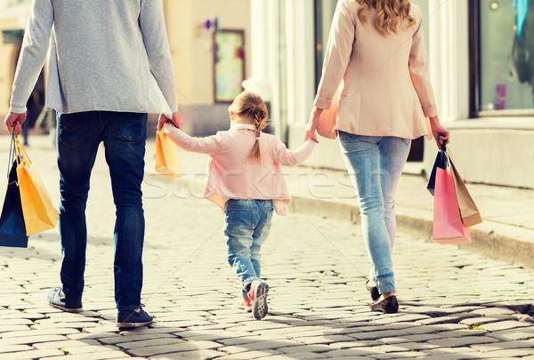 Familie Kind Warenkorb Stadt Verkauf Stock foto © dolgachov