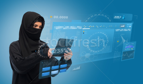 Musulmans femme hijab ordinateur technologie Photo stock © dolgachov