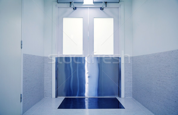 doors at hospital or laboratory corridor Stock photo © dolgachov