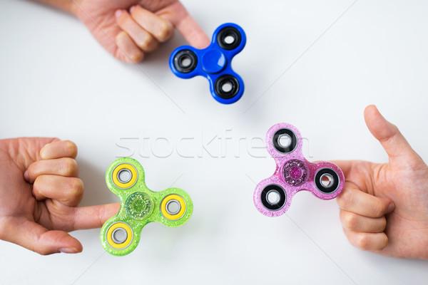 Közelkép kezek játszik játékok szórakoztatás emberek Stock fotó © dolgachov