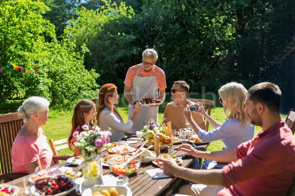 Stockfoto: Gelukkig · gezin · diner · zomer · tuinfeest · recreatie · vakantie