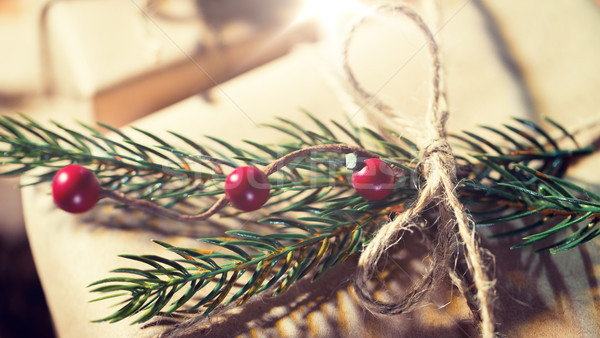 close up of christmas gift with fir brunch Stock photo © dolgachov