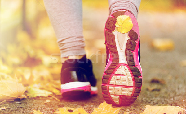 close up of woman feet wearing sneakers in autumn Stock photo © dolgachov