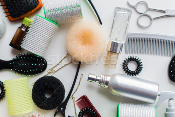 Stock photo: hair donuts, styling sprays, curlers and pins
