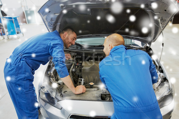 Stock photo: mechanic men with wrench repairing car at workshop