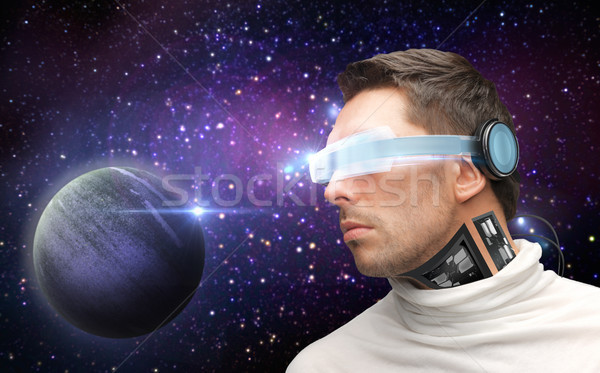 Erkek robot 3d gözlük uzay gelecek teknoloji Stok fotoğraf © dolgachov