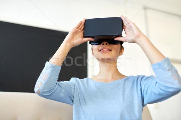 幸せ 女性 バーチャル 現実 ヘッド オフィス ストックフォト © dolgachov