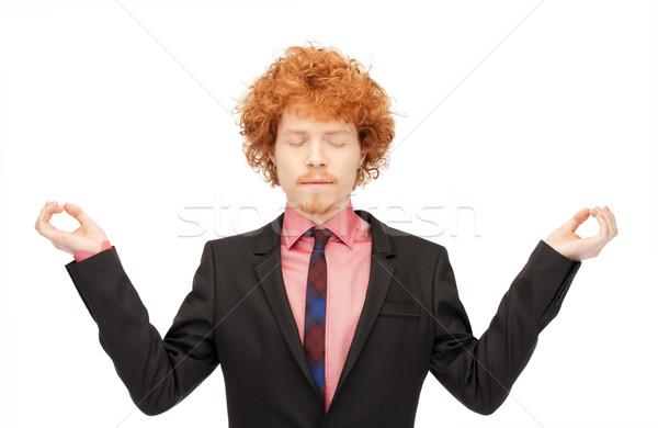 Stock fotó: Férfi · meditáció · fényes · kép · jóképű · üzletember