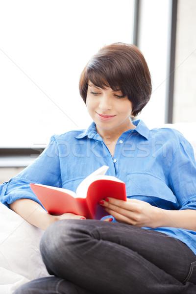 Stok fotoğraf: Mutlu · gülümseyen · kadın · kitap · parlak · resim · kadın