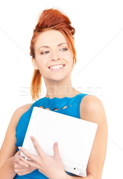 ストックフォト: 幸せ · 女性 · ラップトップコンピュータ · 画像 · コンピュータ · 笑顔