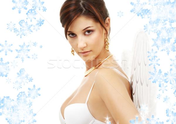 Retrato morena anjo menina flocos de neve branco Foto stock © dolgachov