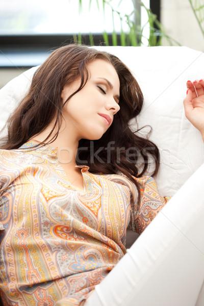 Adormecido mulher brilhante quadro casa olhos Foto stock © dolgachov