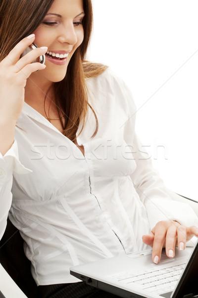 Işkadını sandalye dizüstü bilgisayar telefon beyaz iş Stok fotoğraf © dolgachov