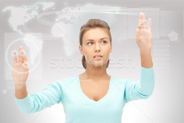 Empresária trabalhando tela sensível ao toque quadro negócio mulher Foto stock © dolgachov