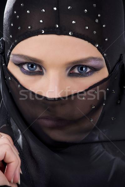 Ninja cara quadro escuro menina Foto stock © dolgachov