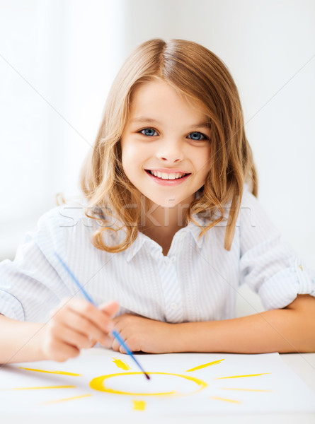 little girl painting at school Stock photo © dolgachov