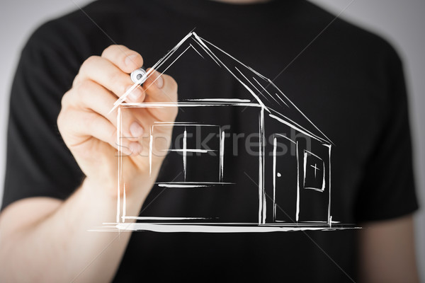 Photo stock: Homme · dessin · maison · écran · immobilier