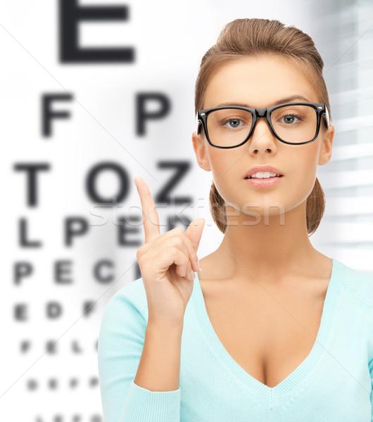 женщину очки глаза диаграммы медицина видение Сток-фото © dolgachov