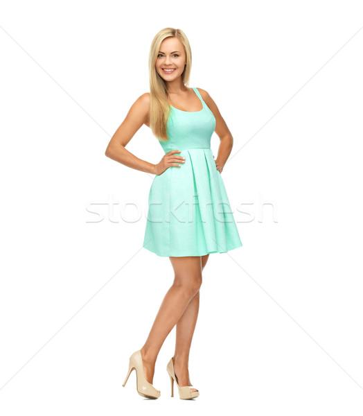 Genç kadın mavi elbise yüksek topuklu güzellik moda Stok fotoğraf © dolgachov