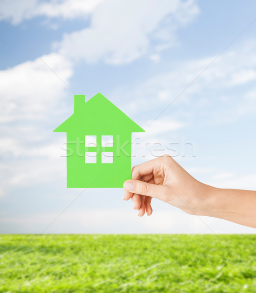 hand holding green paper house Stock photo © dolgachov