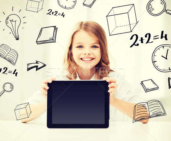 ストックフォト: 少女 · 学校 · 教育 · 技術 · インターネット