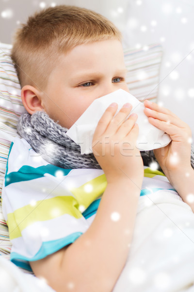 мальчика сморкании ткань домой детство Сток-фото © dolgachov