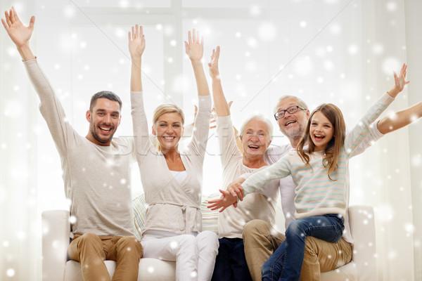 happy family having fun at home Stock photo © dolgachov