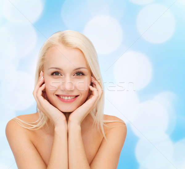 Mooie vrouw aanraken gezicht huid gezondheid schoonheid Stockfoto © dolgachov