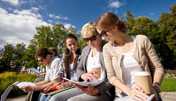 Stok fotoğraf: Grup · mutlu · Öğrenciler · kahve · yaz