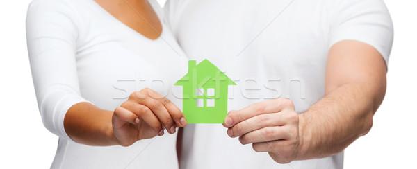 Pár kezek tart üvegház ingatlan család Stock fotó © dolgachov