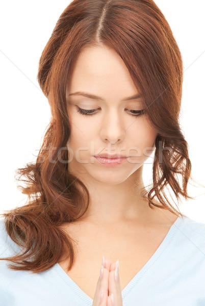 молиться деловая женщина ярко портрет фотография Сток-фото © dolgachov