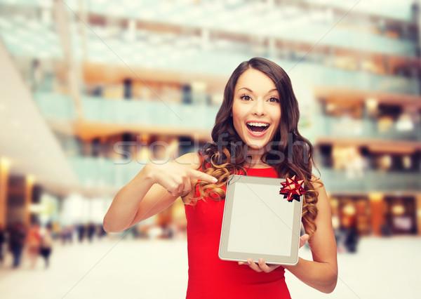 笑顔の女性 赤いドレス クリスマス 技術 現在 ストックフォト © dolgachov