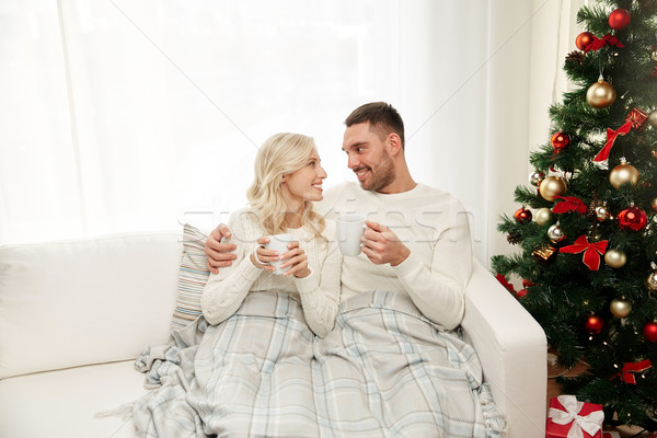 Stock photo: happy couple at home with christmas tree