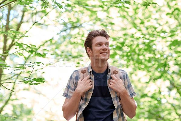 улыбаясь молодым человеком рюкзак походов лесу Adventure Сток-фото © dolgachov