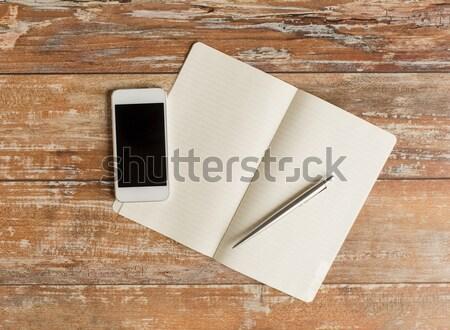 Stock fotó: Közelkép · notebook · toll · okostelefon · üzlet · oktatás