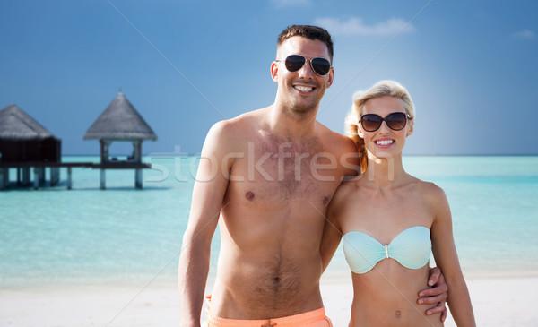Szczęśliwy para lata plaży Zdjęcia stock © dolgachov