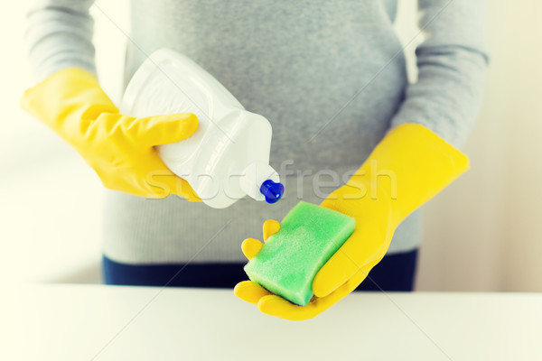 Femme éponge personnes ménage Photo stock © dolgachov