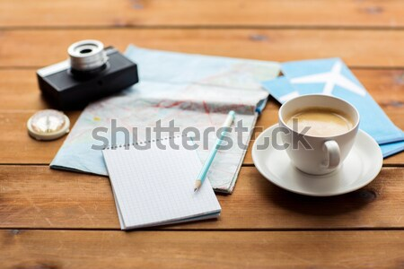 Notatnika Pokaż podróży bilety wakacje Zdjęcia stock © dolgachov