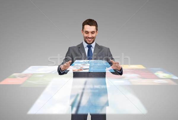 Affaires travail nouvelles projection affaires multimédia Photo stock © dolgachov