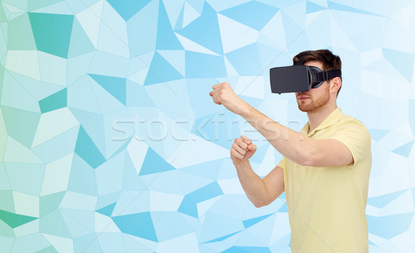 Adam sanal gerçeklik kulaklık 3d gözlük 3D Stok fotoğraf © dolgachov