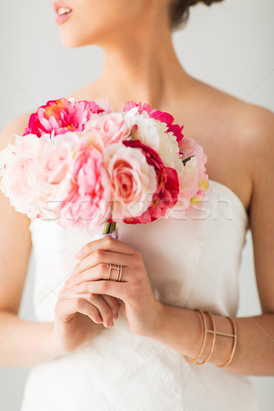 close up of woman or bride with flower bouquet Stock photo © dolgachov
