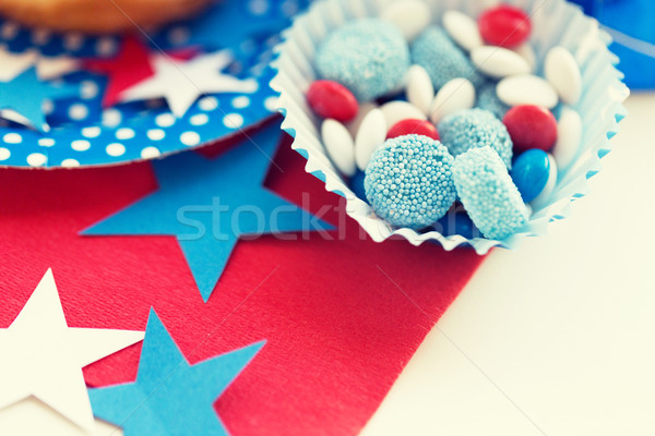 candies with star decoration on independence day Stock photo © dolgachov