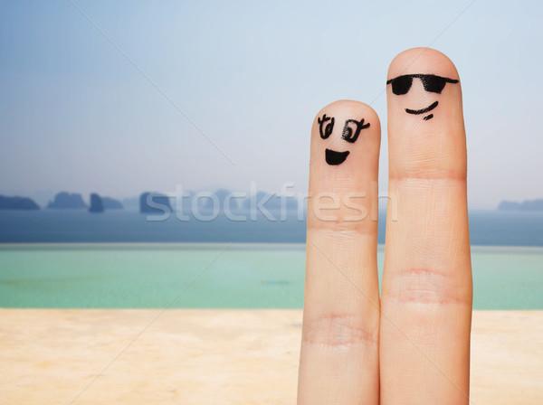 Due dita facce famiglia Foto d'archivio © dolgachov