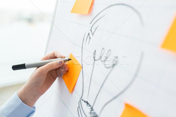 Photo stock: Main · dessin · ampoule · graphique · gens · d'affaires