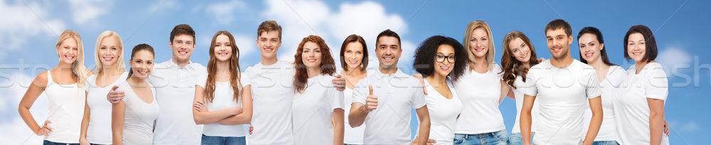 Grup mutlu farklı insanlar beyaz Stok fotoğraf © dolgachov