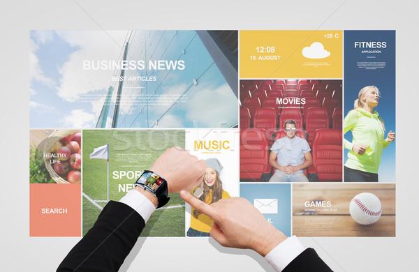 Stock fotó: üzletember · mutat · okos · óra · kéz · üzletemberek