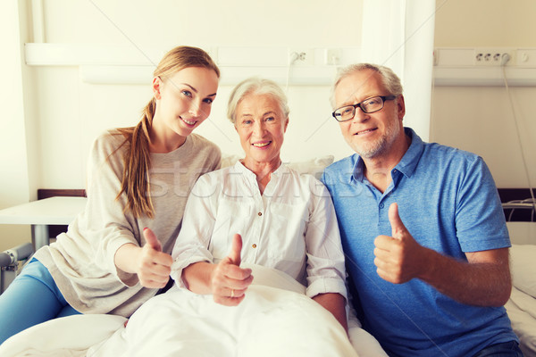 happy family visiting senior woman at hospital Stock photo © dolgachov