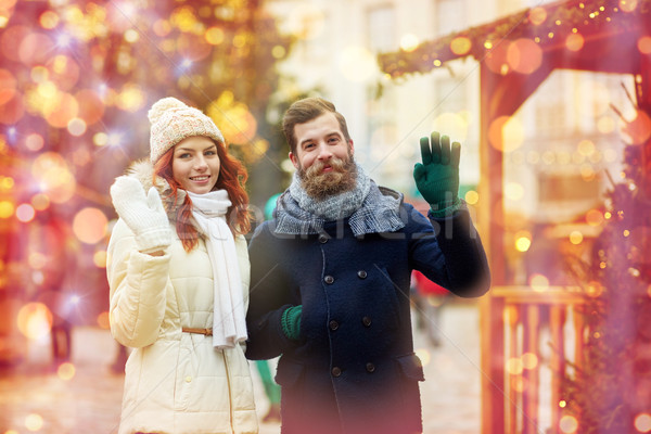 happy couple walking in old town Stock photo © dolgachov